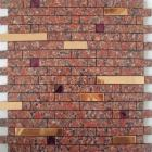 metallic mosaic tile red strip brushed aluminum metal decoration dining room plated mosaic mh-1599-1