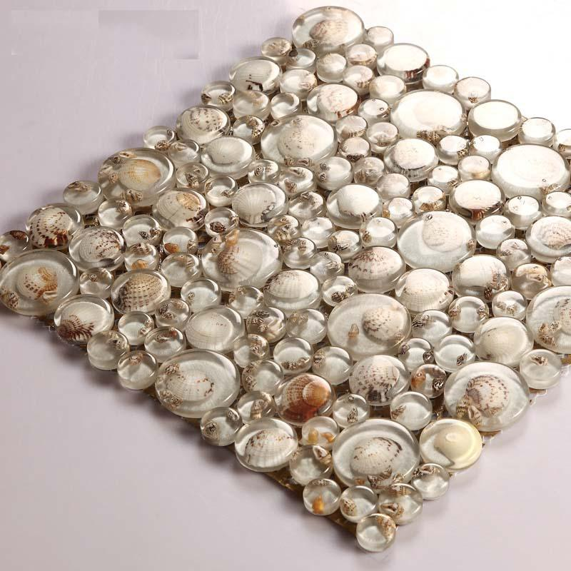 Mosaic Tile Crystal Glass Shell Tile Backsplash Pebble Design Bathroom Tiles For Wall Backsplash