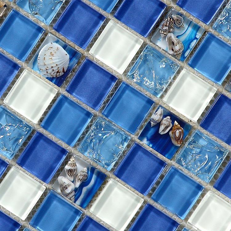 Glass Mosaic Tiles melted Shell Crystal Backsplash Tile Homintercom