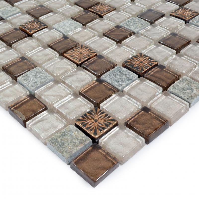 stone glass mosaic tile ice crack glass with marble