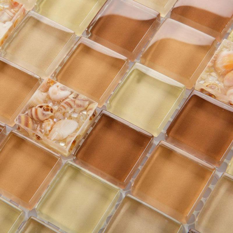wholesale brown glass mosaic tile backsplash crystal glass