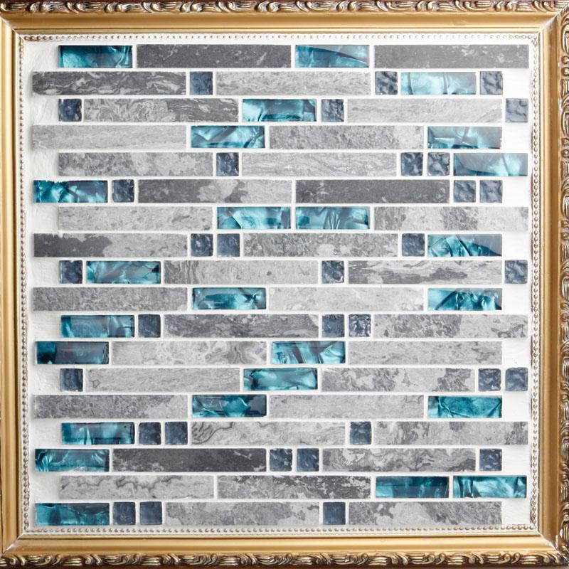 Wholesale Grey Stone With Crystal Glass Mosaic Tile Sheet Backsplash O