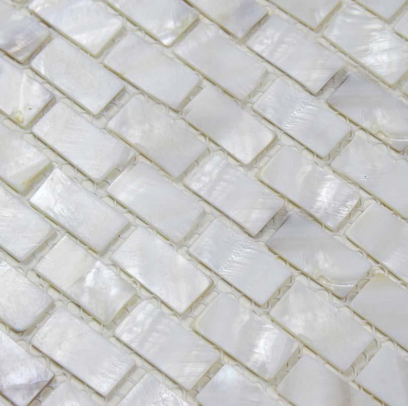 mother of pearl tile shower liner wall backsplash white strip bathroom shell mosaictiles bk03