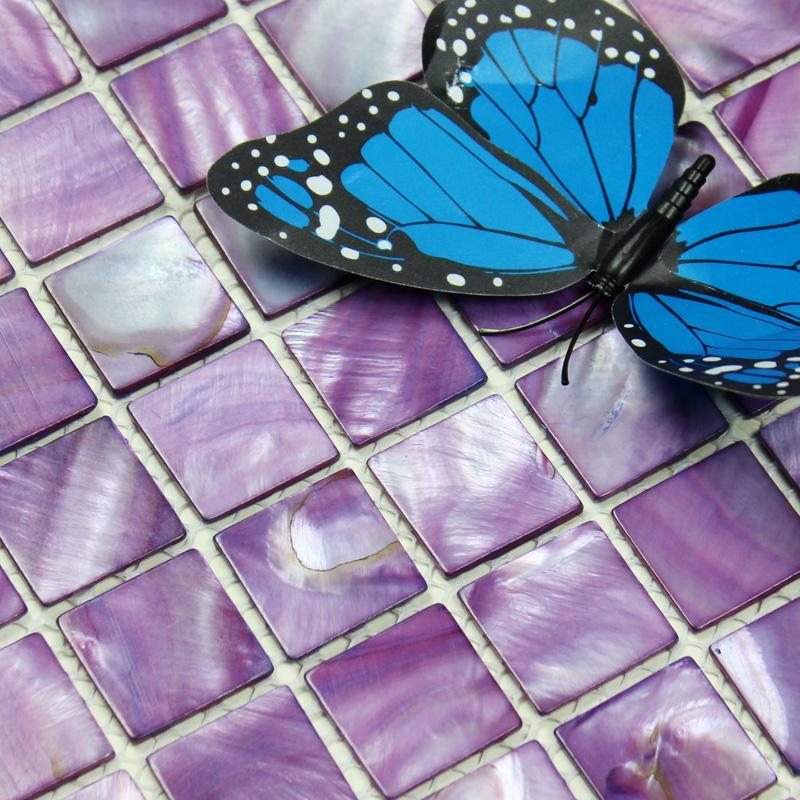 Purple Tile Backsplash Glass Mosaic Art Kitchen Tiles: Shell Tiles 100% Purple Seashell Mosaic Mother Of Pearl