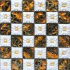 porcelain glass tile wall backsplash fireplace crystal art flower pattern design mosaic tiles nm010
