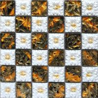 porcelain glass tile wall backsplash fireplace crystal art flower pattern design mosaic tiles nm010