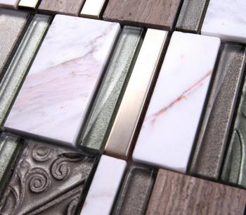 stone glass mosaic tile stainless steel metal wall tiles marble tile metallic mosaic tile sd11