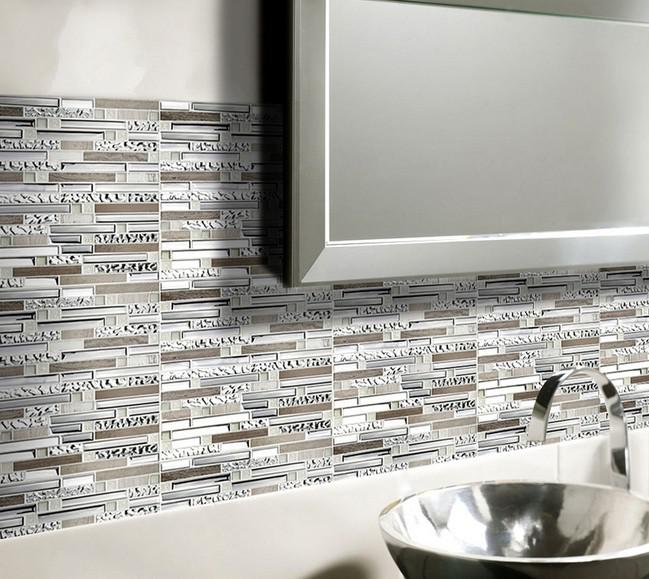 Natural Stone With Crystal Glass Mosaic Tile Sheet Marble Backsplash