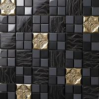 metallic backsplash tile stainless steel sheet and crystal glass blend mosaic wall decor 636