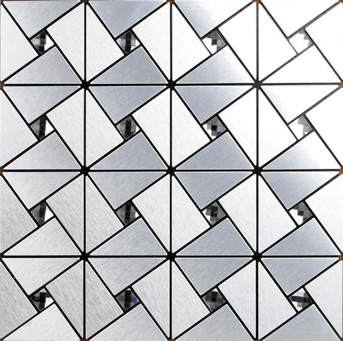 metallic mosaic tile backsplash triangle brushed diamond aluminum stai. Black Bedroom Furniture Sets. Home Design Ideas