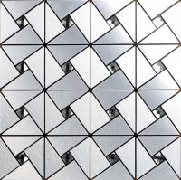 metallic mosaic tile backsplash triangle brushed diamond aluminum stainless steel blend 6127