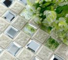 porcelain glass tile wall backsplash crystal art flower pattern design mosaic tiles 1801