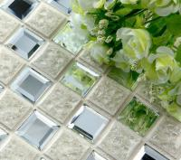 porcelain glass tile wall backsplash crystal art flower pattern design mosaic tiles 1801