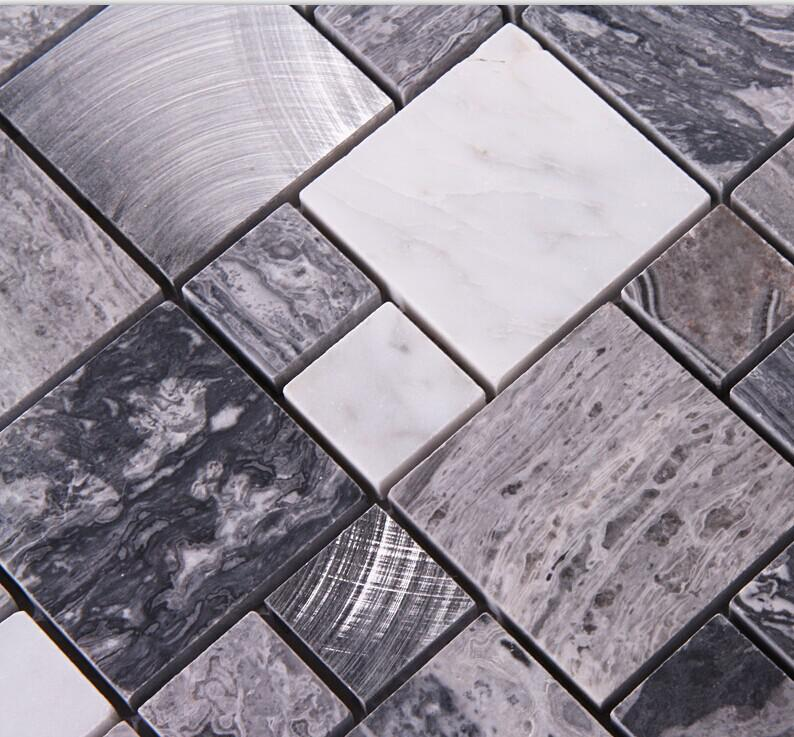 stone mosaic tile square brushed aluminum patterns washroom wall marble backsplash metal floor tiles