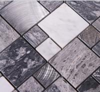 stone mosaic tile square brushed aluminum patterns washroom wall marble backsplash metal floor tiles 9481