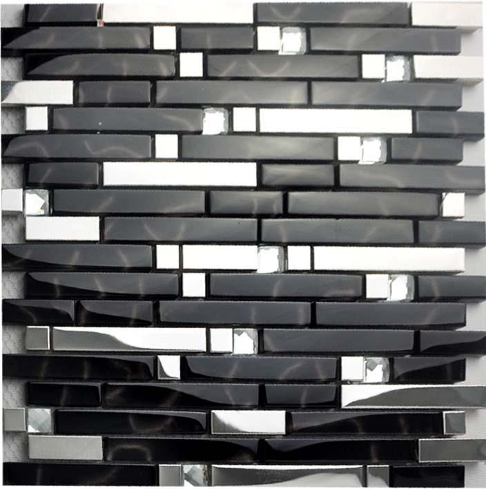 Glass Tile Backsplash Interlocking Metallic Mosaic