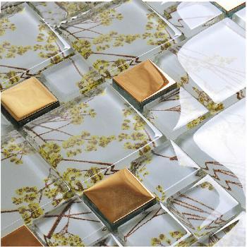 vitreous mosaic tile crystal glass backsplash washroom design plated dining-rooom wall tiles F206