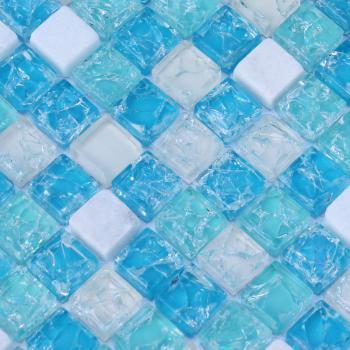 stone glass mosaic tiles blue ice crack crystal backsplash tile cream white marble mosaics sdy001