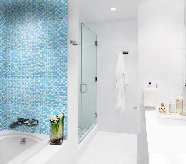 Crystal Glass Tile Sheets For Shower Wall Stickers Blue And White Pool
