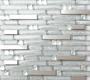 metal kitchen tiles 304 stainless steel backsplash metal & crystal glass blend diamond glass mosaic tile b903