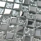 crystal glass tiles sheet square mosaic tiling art metal electroplated design ktchen backsplash 8123
