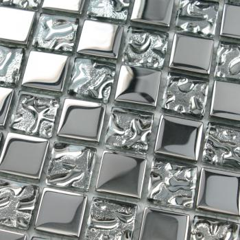 crystal glass tiles sheet square mosaic tiling art metal electroplated design ktchen backsplash 8123