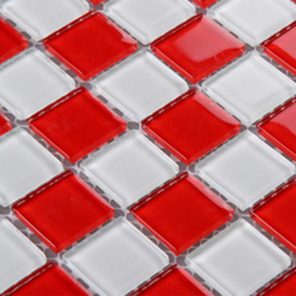 glass mosaic tile sheets kitchen backsplash cheap 3031 red and white. Black Bedroom Furniture Sets. Home Design Ideas