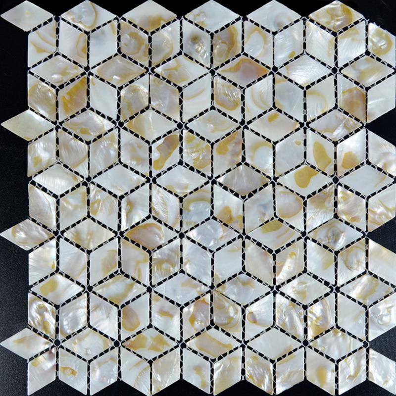 mother of pearl tile backsplash mesh white shell mosaic diamond seashell tiles kitchen wall design