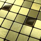 metal tile backsplash kitchen gold stainless steel tiles square metallic brushed aluminum mosaic art