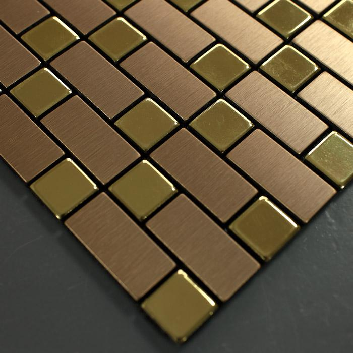 Metallic Mosaic Tile Backsplash Strip Brushed Gold Aluminum Square Dar