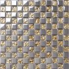 crystal glass tiles sheet square mosaic tiling art metal electroplated design ktchen backsplash DT51